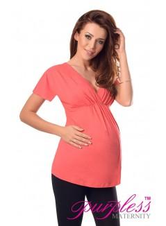 2in1 Maternity & Nursing Top 7042 Coral
