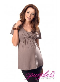 2in1 Maternity & Nursing Top 7042 Cappuccino