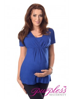 2in1 Maternity & Nursing Top 7042 Royal Blue