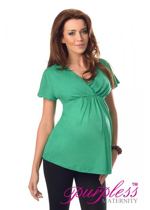 2in1 Maternity & Nursing Top 7042 Green