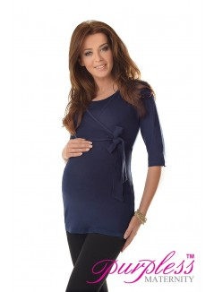 2in1 Maternity & Nursing 3/4 Sleeved Wrap Top 7035 Navy