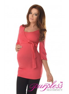 2in1 Maternity & Nursing 3/4 Sleeved Wrap Top 7035 Raspberry