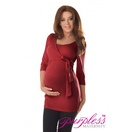 2in1 Maternity & Nursing 3/4 Sleeved Wrap Top 7035 Burgundy