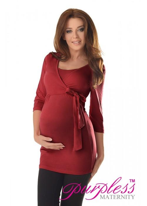 2in1 Maternity & Nursing 3/4 Sleeved Wrap Top 7035 Burgundy