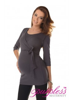 2in1 Maternity & Nursing 3/4 Sleeved Wrap Top 7035 Graphite