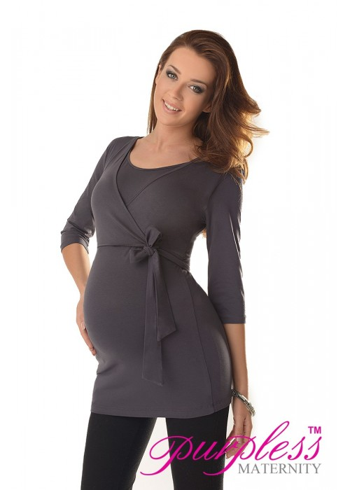 2in1 Maternity & Nursing 3/4 Sleeved Wrap Top 7035 Graphite