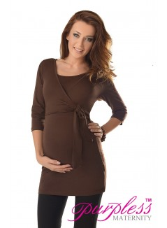 2in1 Maternity & Nursing 3/4 Sleeved Wrap Top 7035 Brown