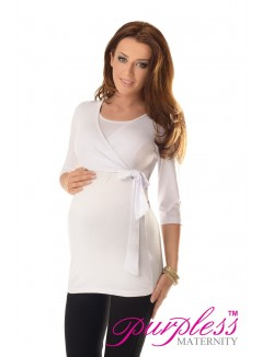 2in1 Maternity & Nursing 3/4 Sleeved Wrap Top 7035 White