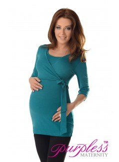 2in1 Maternity & Nursing 3/4 Sleeved Wrap Top 7035 Dark Turquoise