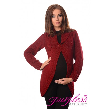 Maternity Cardigan 9004 Burgundy