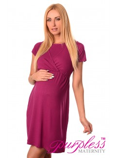 Maternity and Nursing Dress 7200 Dark Pink
