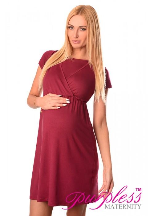 maternity and nursing dress 7200 burgundy