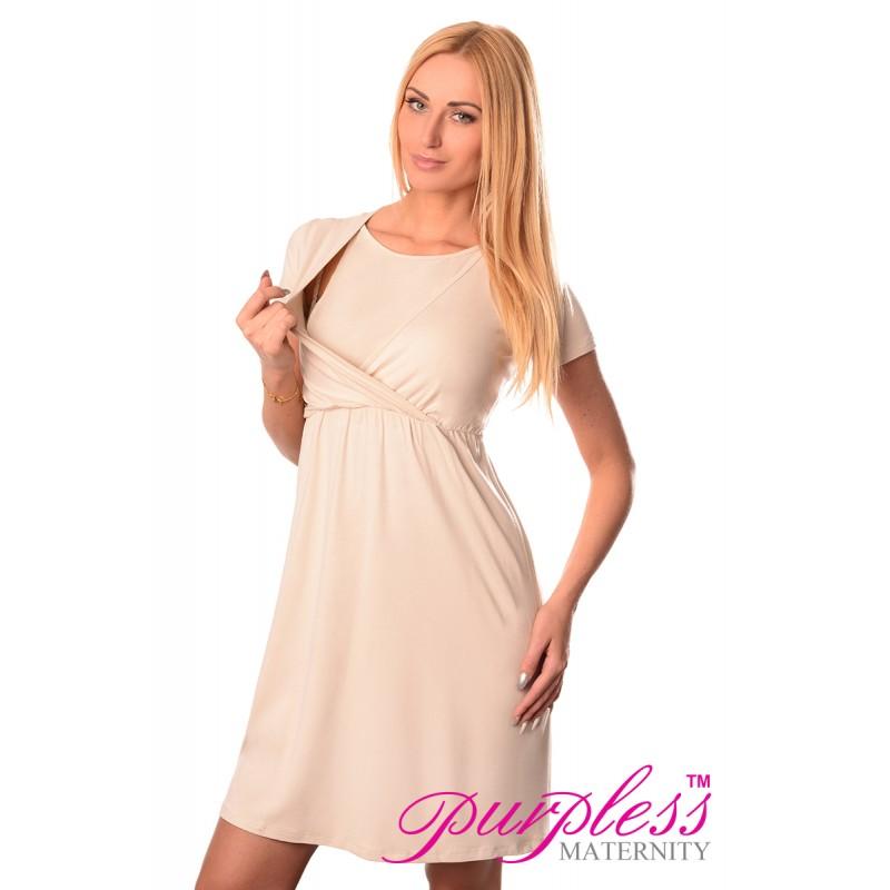 maternity and nursing dress 7200 beige