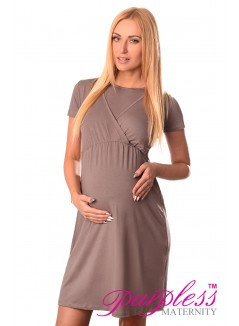 Maternity and Nursing Dress 7200 Cappuccino