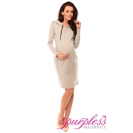 Pregnancy and Nursing Hooded Bodycon Dress with Pocket 6211 Light Gray Melange