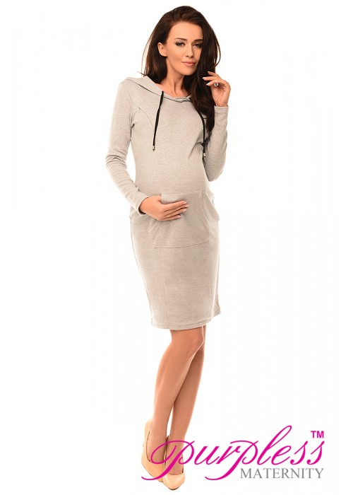 Pregnancy and Nursing Hooded Bodycon Dress with Pocket 6211 Light Gray Melange