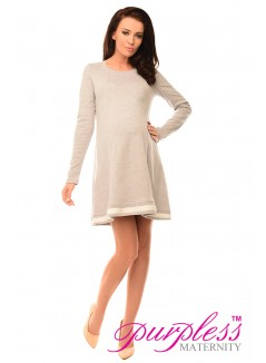 Asymmetric Pregnancy Tunic Mini Dress with Bow 6218 Light Gray Melange