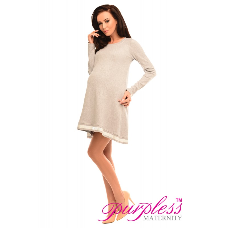 1d686a9abf6fa Purpless Maternity Asymmetric Pregnancy Tunic Mini Dress with Bow ...