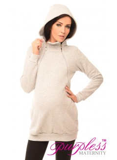 Pregnancy and Nursing Hoodie 9052 Light Gray Melange