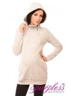 Pregnancy and Nursing Hoodie 9052 Light Gray Melange