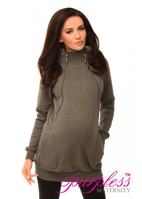 Pregnancy and Nursing Hoodie 9052 Dark Gray Melange