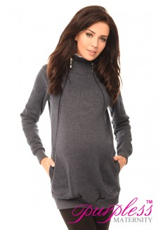Pregnancy and Nursing Hoodie 9052 Navy Melange