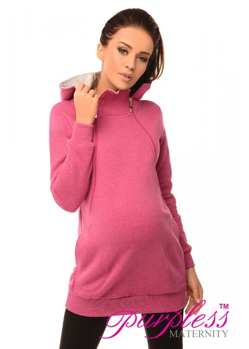 Pregnancy and Nursing Hoodie 9052 Dark Pink Melange