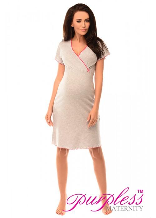 Pregnancy and Nursing Nightdress 1055n Gray Melange