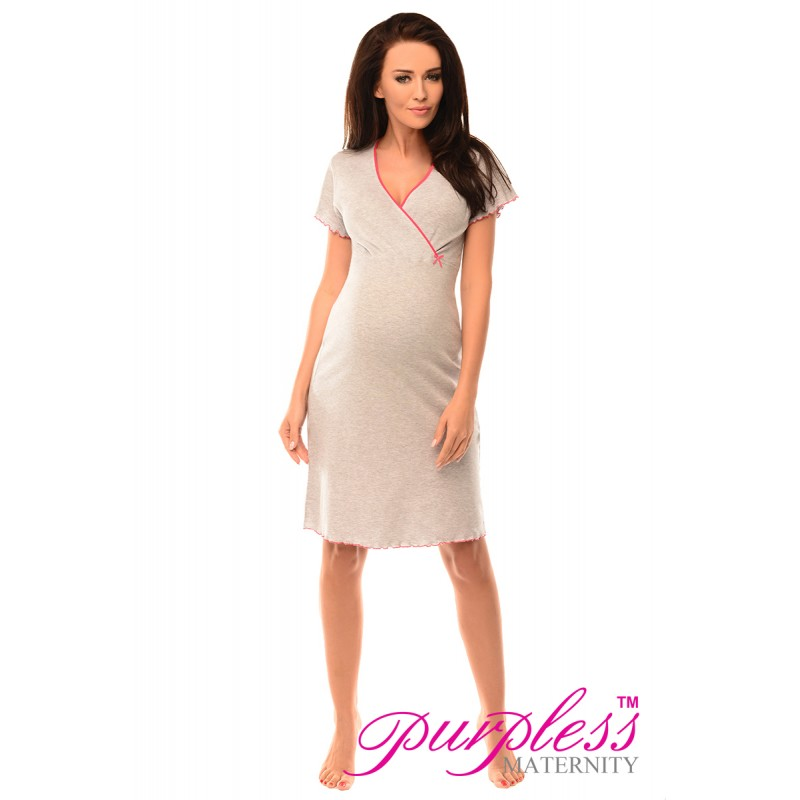 Flattering nursing nightdress features a gentle frill neckline and falls in a soft A-line. Three quarter length sleeves Knee length Discreet feeding panel cut in just the right shape and place ensures easy nursing clothes uk, Nursing dress, nursing nightdress, nursing nightie, nursing nightwear, nursing pajamas, nursing pjs.