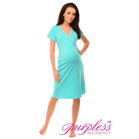 Pregnancy and Nursing Nightdress 1055n Aqua Blue
