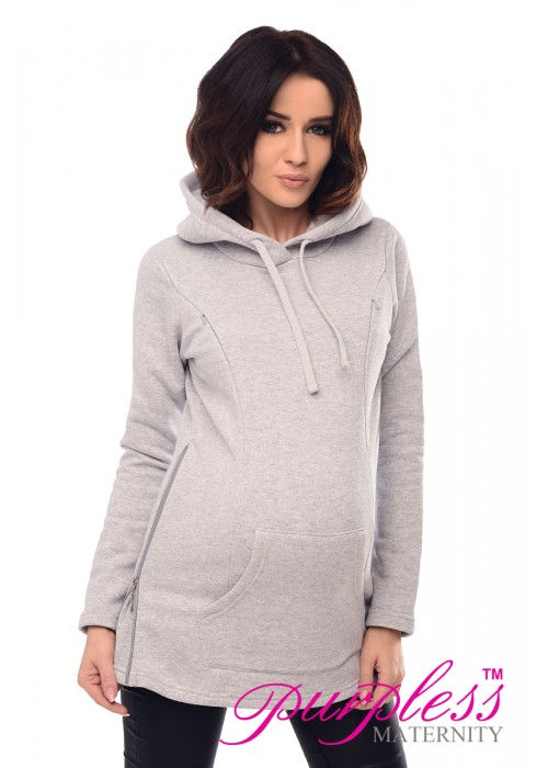 2in1 Nursing Hoodie 9050 Light Gray
