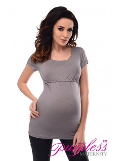 Nursing Short Sleeved Top 7020 Gray