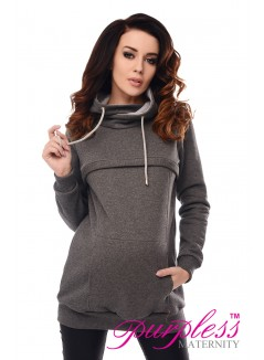 2in1 Cowl Neck Sweatshirt 9054 Dark Gray Melange