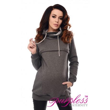 2in1 Cowl Neck Sweatshirt 9054 Dark Gray Melange
