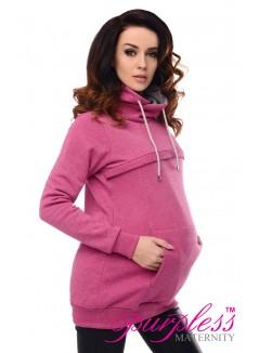 2in1 Cowl Neck Sweatshirt 9054 Dark Pink Melange