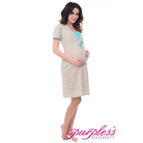 Pregnancy and Nursing Nightdress 4044n Spots Print Mint