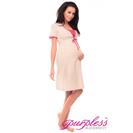 Pregnancy and Nursing Nightdress 4044n Hearts Print Pink