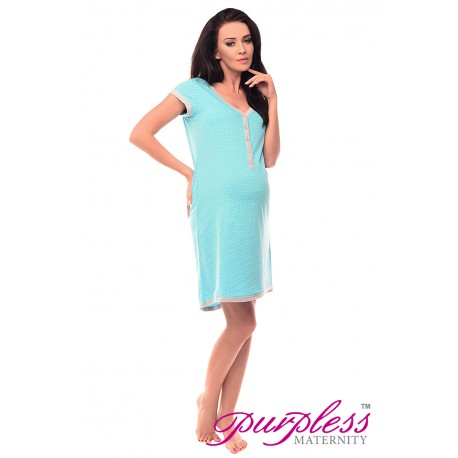 Pregnancy and Nursing Nightdress 5038n Blue