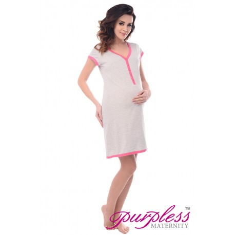 Pregnancy and Nursing Nightdress 5038n Gray Melange