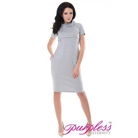 Purpless Maternity Nursing Funnel Neck Dress 6225