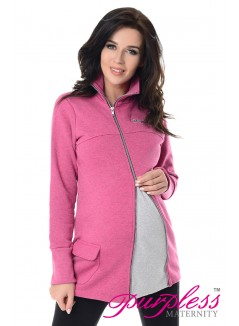 Adjustable Maternity Sweatshirt 9055 Dark Pink Melange