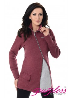 Adjustable Maternity Sweatshirt 9055 Burgundy Melange