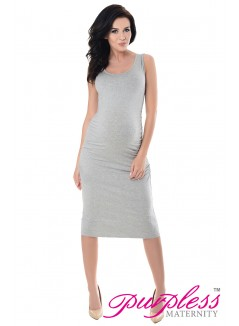Sleeveless Jersey Midi Dress 8130 Light Gray Melange