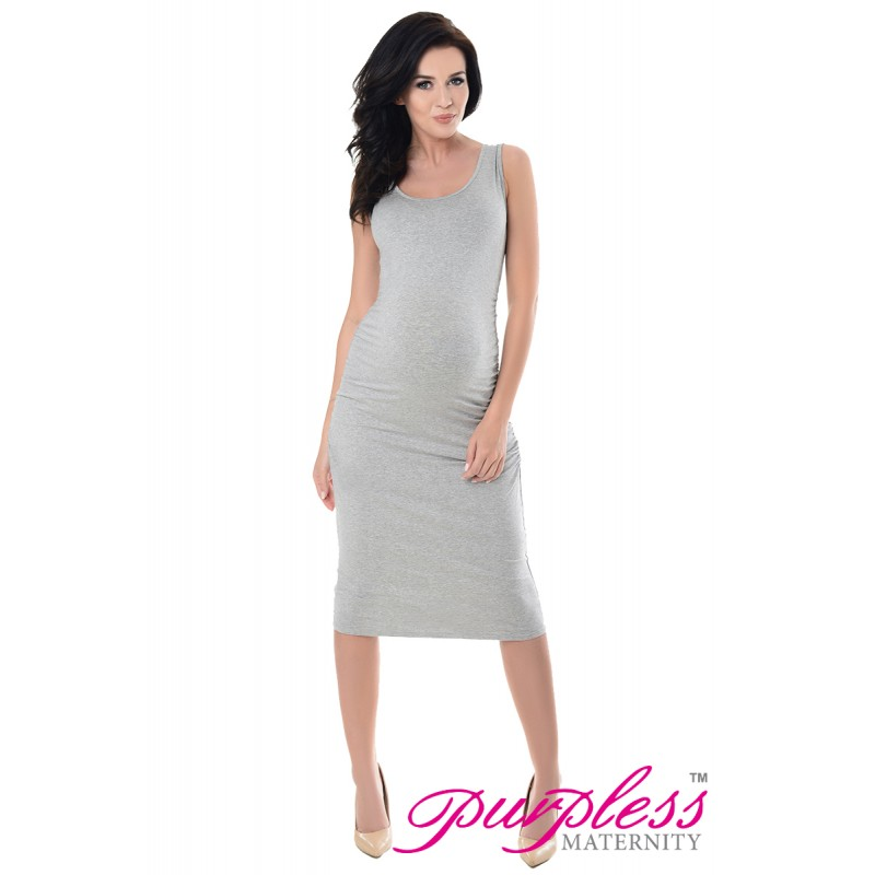 7d210bff582d Purpless Maternity Pregnancy Bodycon Ruched Midi Jersey Dress Model ...
