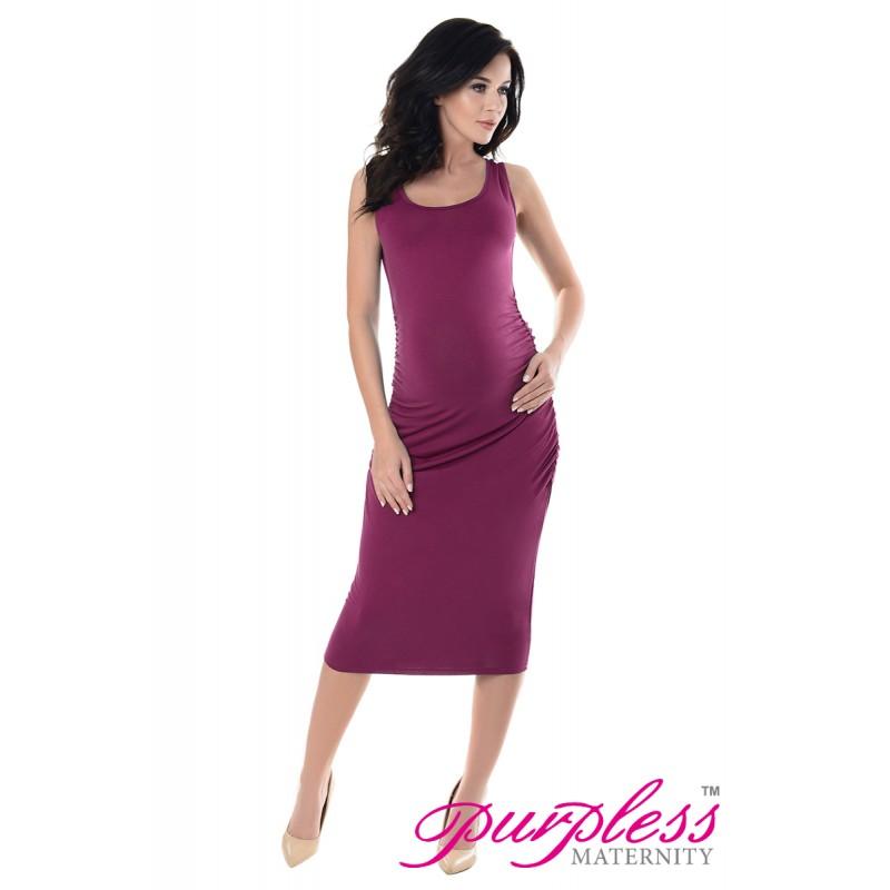 5d58d437f7 Sleeveless Jersey Ruched Pregnancy Midi Dress 8130 Dark Pink