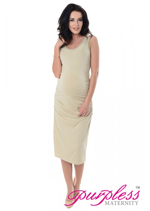 Sleeveless Jersey Midi Dress 8130 Beige