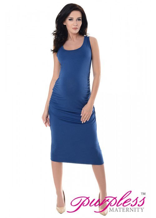 0f752699603716 Sleeveless Jersey Ruched Pregnancy Midi Dress 8130 Jeans