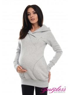 2in1 Nursing Hoodie 9056 Light Gray Melange