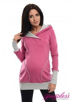 2in1 Nursing Hoodie 9056 Dark Pink Melange