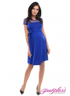 Lace Panel Dress D004 Royal Blue